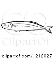 Clipart Of A Black And White Fish 4 Royalty Free Vector Illustration