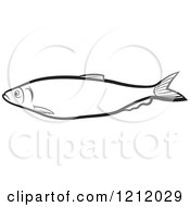 Clipart Of A Black And White Fish 5 Royalty Free Vector Illustration