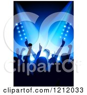 Clipart Of A Silhouetted Crowd At A Concert Under Blue Stage Lighting Royalty Free Vector Illustration