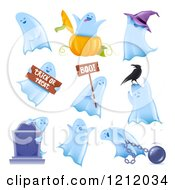 Clipart Of Halloween Ghosts In Multiple Poses Royalty Free Vector Illustration by TA Images