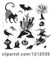 Clipart Of Black And White Halloween Characters And Items Royalty Free Vector Illustration