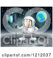 Cartoon Of A Proud Astronaut Planting An Earth Flag On The Moon Royalty Free Vector Clipart