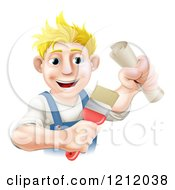 Cartoon Of A Happy Blond Painter Holding A Certificate And Brush Royalty Free Vector Clipart