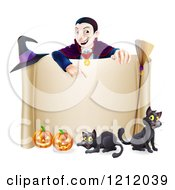 Cartoon Of A Grinning Vampire Pointing Down To A Halloween Scroll Sign With Black Cats Broomstick Witch Hat And Pumpkins Royalty Free Vector Clipart by AtStockIllustration