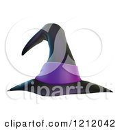 Cartoon Of A Black Witch Hat With A Purple Band Royalty Free Vector Clipart