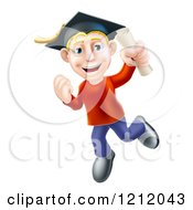 Cartoon Of A Happy Blond Graduate Man Jumping With A Scroll In Hand Royalty Free Vector Clipart