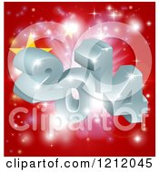 Clipart Of A 3d 2014 And Fireworks Over A Chinese Flag Royalty Free Vector Illustration