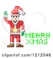 Cartoon Of A Retro Pixelated Santa And Green Merry Xmas Text Royalty Free Vector Clipart