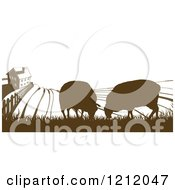Clipart Of A Brown Silhouetted Farm House With Sheep And Fields Royalty Free Vector Illustration