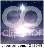 Clipart Of The Star Of Bethlehem Shining Over Mountains Nativity Desert Landscape Royalty Free Vector Illustration by AtStockIllustration