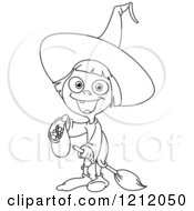 Cartoon Of An Outlined Cute Girl Witch Trick Or Treating On Halloween Royalty Free Vector Clipart