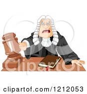 Cartoon Of An Angered Judge In A Wig Slamming Down His Gavel Royalty Free Vector Clipart