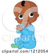 Cartoon Of A Cute African American Baby Boy Clapping His Hands Royalty Free Vector Clipart