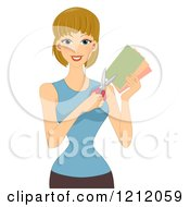 Cartoon Of A Happy Caucasian Woman Holding Scissors And Colored Paper Royalty Free Vector Clipart
