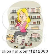 Cartoon Of A Blond Caucasian Woman Trying On Shoes In A Boutique Royalty Free Vector Clipart