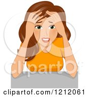 Cartoon Of A Stressed Brunette Caucasian Woman Resting Her Forehead Against Her Hands Royalty Free Vector Clipart