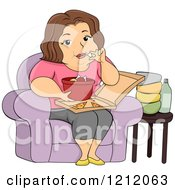 Cartoon Of A Fat Woman Eating Chicken Drumsticks And Pizza Royalty Free Vector Clipart by BNP Design Studio