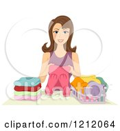 Cartoon Of A Happy Brunette Woman Folding Laundry Royalty Free Vector Clipart
