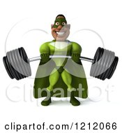 Clipart Of A 3d Strong Black Super Hero Man In A Green Costume Lifting A Heavy Barbell Royalty Free Illustration
