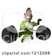 Clipart Of A 3d Strong Black Super Hero Man In A Green Costume Lifting A Heavy Barbell 3 Royalty Free Illustration