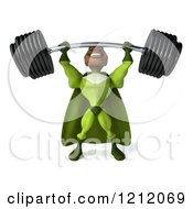 Clipart Of A 3d Strong Black Super Hero Man In A Green Costume Lifting A Heavy Barbell 4 Royalty Free Illustration