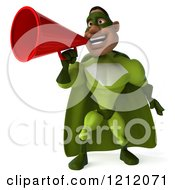 Clipart Of A 3d Black Super Hero Man In A Green Costume Announcing With A Megaphone Royalty Free Illustration