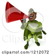 Clipart Of A 3d Black Super Hero Man In A Green Costume Announcing With A Megaphone 2 Royalty Free Illustration