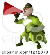 Clipart Of A 3d Black Super Hero Man In A Green Costume Announcing With A Megaphone 3 Royalty Free Illustration