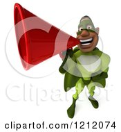 Clipart Of A 3d Black Super Hero Man In A Green Costume Announcing With A Megaphone 4 Royalty Free Illustration