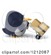 Clipart Of A 3d Penguin Pushing Boxes On A Dolly Hand Truck Royalty Free Illustration