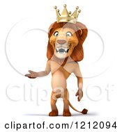Clipart Of A 3d Lion King Standing And Presenting Royalty Free Illustration
