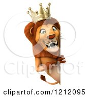 Clipart Of A 3d Lion King Pointing To A Sign Royalty Free Illustration