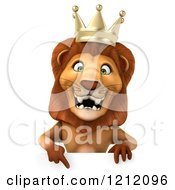 Clipart Of A 3d Lion King Pointing Down To A Sign Royalty Free Illustration