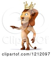 Clipart Of A 3d Lion King Pointing Royalty Free Illustration