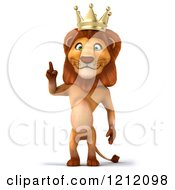 Clipart Of A 3d Lion King Pointing Up Royalty Free Illustration