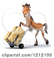 Clipart Of A 3d Brown Horse Pushing Boxes On A Dolly Hand Truck 2 Royalty Free Illustration