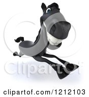 Clipart Of A 3d Black Horse Running 5 Royalty Free Illustration