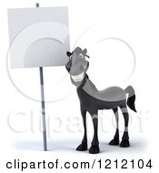 Clipart Of A 3d Black Horse Smiling Under A Sign Royalty Free Illustration