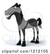 Clipart Of A 3d Black Horse Facing Left Royalty Free Illustration
