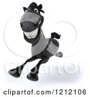Clipart Of A 3d Black Horse Running 4 Royalty Free Illustration