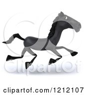 Clipart Of A 3d Black Horse Running 3 Royalty Free Illustration