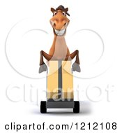Clipart Of A 3d Brown Horse Pushing Boxes On A Dolly Hand Truck Royalty Free Illustration