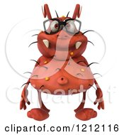Clipart Of A 3d Red Germ Wearing Glasses Royalty Free Illustration