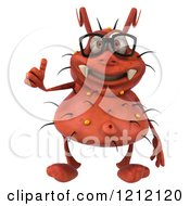 Clipart Of A 3d Red Germ Wearing Glasses And Holding A Thumb Up Royalty Free Illustration