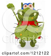 Clipart Of A Green Super Germ Flying Royalty Free Illustration