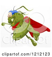Clipart Of A Green Super Germ Flying 2 Royalty Free Illustration