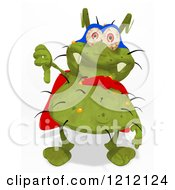 Clipart Of A Green Super Germ Holding A Thumb Down Royalty Free Illustration