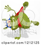 Clipart Of A Green Super Germ Doing A Hand Stand Royalty Free Illustration