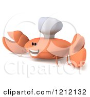 Clipart Of A 3d Happy Orange Crab Chef 2 Royalty Free Illustration
