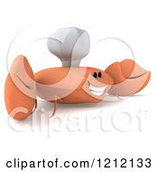 Clipart Of A 3d Happy Orange Crab Chef 3 Royalty Free Illustration